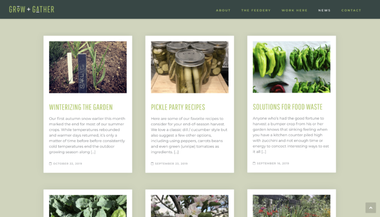grow + gather's list of articles including winterizing the garden, pickle party recipes, and solutions for food waste